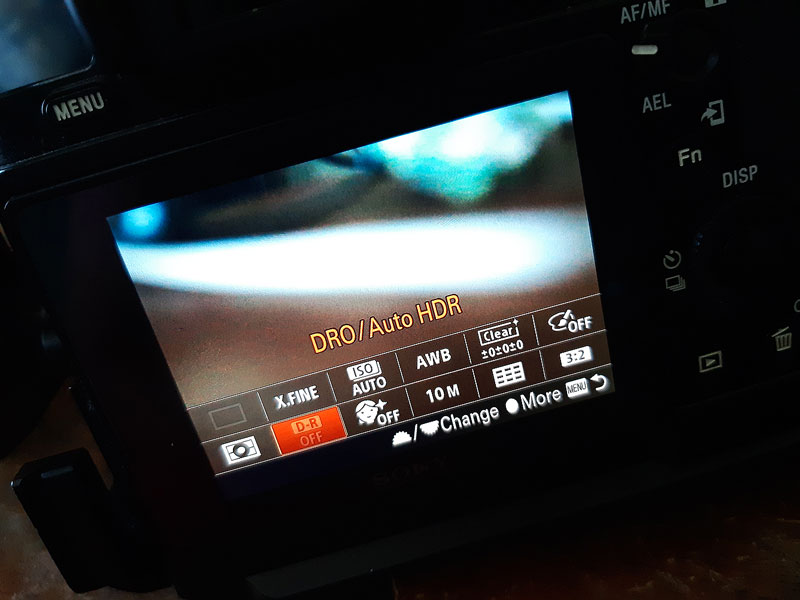 on screen sony a7